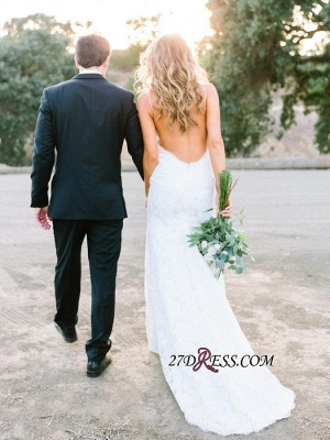 Long Gorgeous Spaghetti-Strap Sleeveless Backless Lace Wedding Dress_4