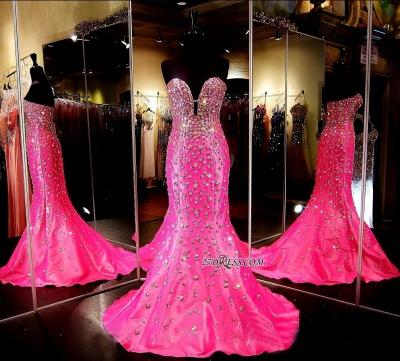 Sleeveless Sweetheart Open-Back Crystal Luxury Mermaid Prom Dress UK BA3968_2