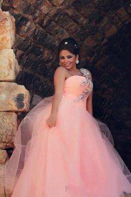 Chic Tulle Crystals Princess Pink Wedding Dress One Shoulder_1