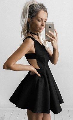 Elegant Black Deep V-neck Homecoming Dress UK Mini Sleeveless BA4219_4