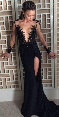 Elegant Black Long Sleeve Evening Dress UK Appliques Front Split Long CE082_1