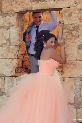 Chic Tulle Crystals Princess Pink Wedding Dress One Shoulder_2