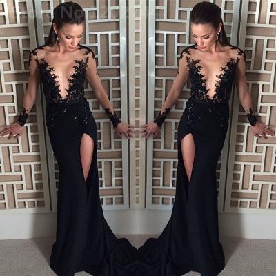 Elegant Black Long Sleeve Evening Dress UK Appliques Front Split Long CE082_3