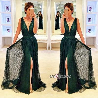 Sleeveless V-Neck Front-Split Elegant Sequined Dark-Green Prom Dress UK BA4250_1