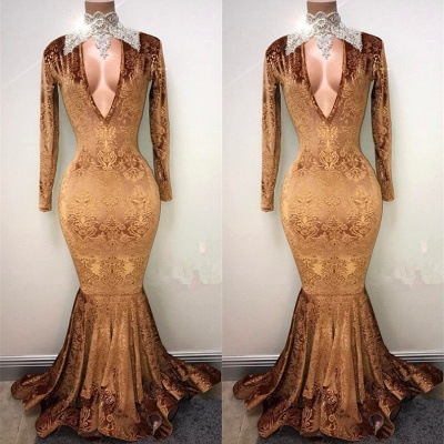 Gold-V-neck Mermaid Prom Dress UK, Lace Evening Gowns On Sale_3