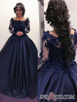 Navy Long Slaeeves Prom Dress UK | Ball-Gown Evening Gowns On Sale_2