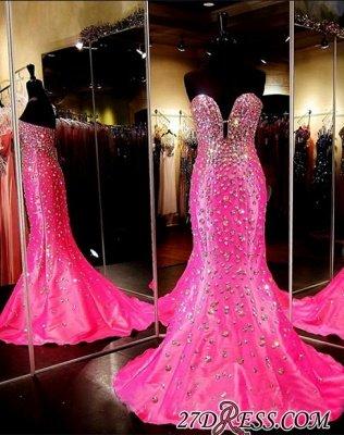 Sleeveless Sweetheart Open-Back Crystal Luxury Mermaid Prom Dress UK BA3968_1