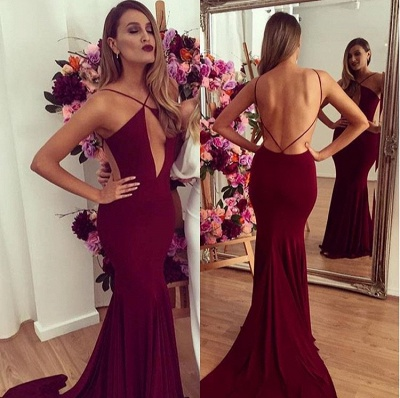 Elegant Backless Mermaid Burgundy Prom Dress UKes UK Floor length_2
