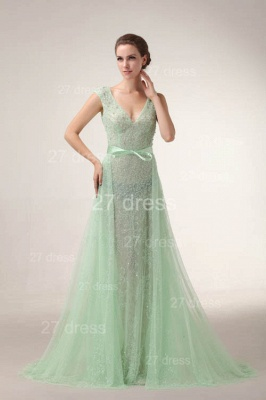 Elegant V-Neck Lace Evening Dress UKes UK Bownot A-Line Prom Gowns with Beadings_2