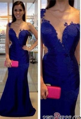 Mermaid  Appliques One-Shoulder Royal-Blue Prom Dress UK_2