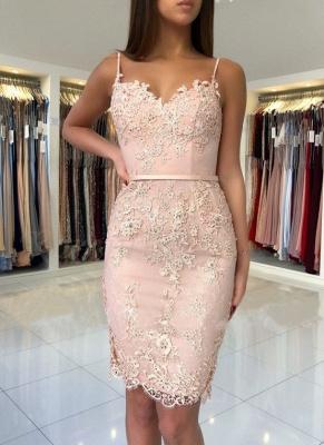 Sexy Pink Sheath Short Homecoming Dress UKes UK | Spaghetti-Strap Sleeveless Cocktail Dress UKes UK_1