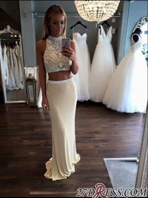 Two-Piece Crystal High-Neck Sheath Sleeveless Prom Dress UK_1