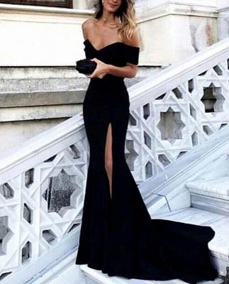 Black Split-Front Long Off-the-shoulder Simple Evening Dress UK lpl200_2