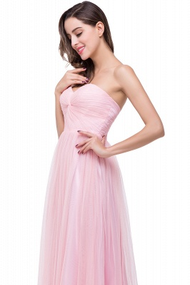 Sexy Sweetheart Pink Bridesmaid Dress UK Ruched Long Prom Gown_3