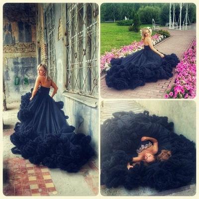 Luxury Appliques Ruffles Black Evening Dress UK Court Train Sleeveless_3