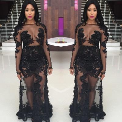Elegant Black Illusion Long Sleeve Prom Dress UKes UK Appliques Sheer Skirt Floor Length_3