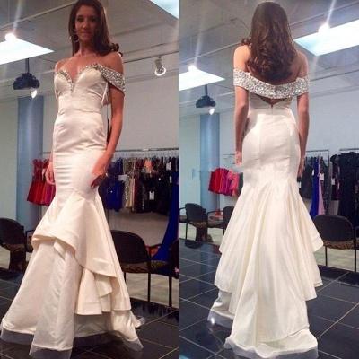 Elegant Off-the-shoulder Beading Prom Dress UK Mermaid Zipper Sweep Train_2