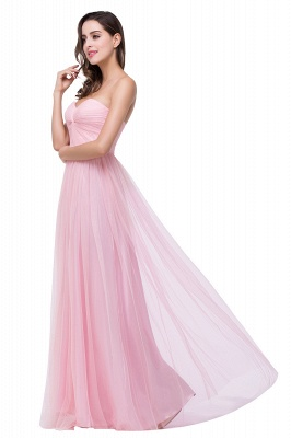Sexy Sweetheart Pink Bridesmaid Dress UK Ruched Long Prom Gown_2