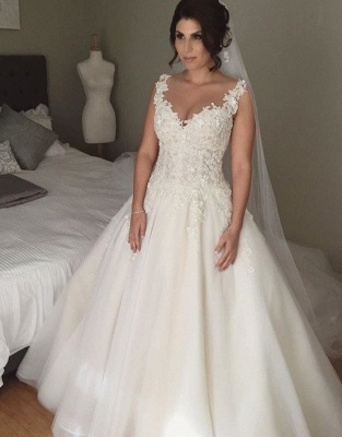 Modern V-neck Sleeveless Tulle Wedding Dress With Lace Appliques_1