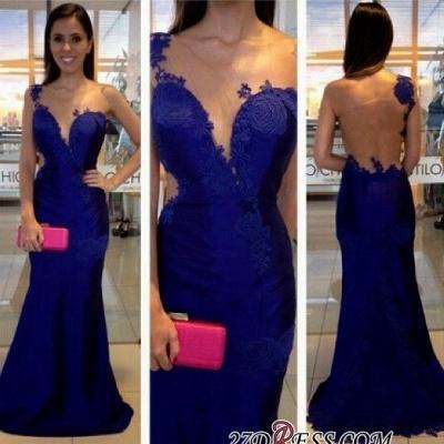 Mermaid  Appliques One-Shoulder Royal-Blue Prom Dress UK_1