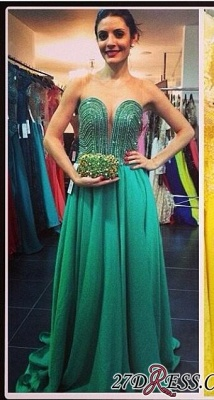 Sweep Sweetheart A-line Green Train Beading Evening Gown_2