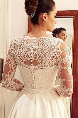Elegant Scoop Neckline Long Sleeve Wedding Dress With Lace Appliques BA9260_2