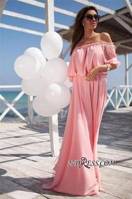 Outdoor Chiffon Off-the-shoulder Long Short-sleeves Elastic-band Sexy Beach Evening Dress UK_4