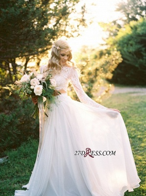 Elegant A-line Two-Piece  Long-Sleeves Lace Wedding Dresses UK_6
