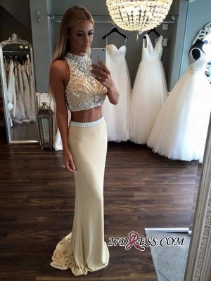 Two-Piece Crystal High-Neck Sheath Sleeveless Prom Dress UK_2