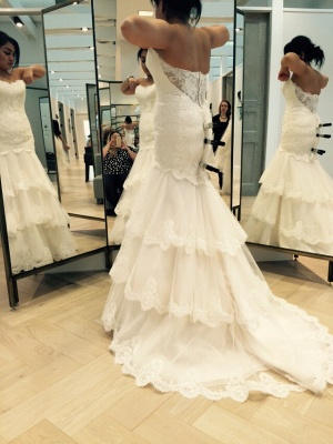 Chic Tulle Lace Sexy Mermaid Tiered Wedding Dress Zipper_2