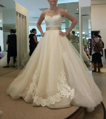 Gorgeous Sweetheart Princess Wedding Dresses UK Lace Appliques Tulle_3