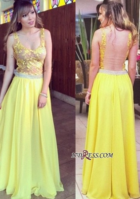 Lace Chiffon Hollow Floor-length Straps Sexy A-line Yellow Prom Dress UK_1