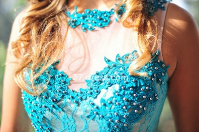 Womens Long Evening Prom Dress UKes UK Hot Sale Lindo Vestidos De Fiesta Party Gowns Blue Scoop Pearls Chiffon Lace_5