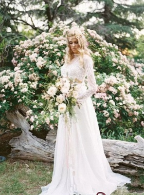 Elegant A-line Two-Piece  Long-Sleeves Lace Wedding Dresses UK_5