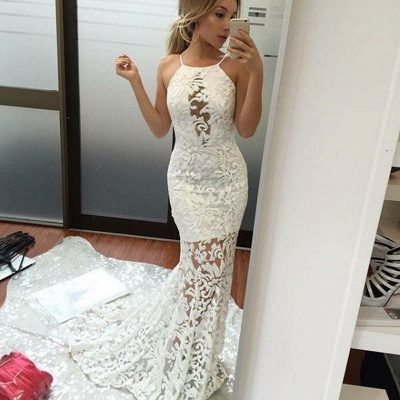 White Halter Prom Dress UK   Lace Mermaid Evening Gowns BA9091_3