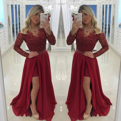 Chic Long Sleeve Burgundy Evening Dress UK   2019 Prom Party Dress UK With Pearls_3