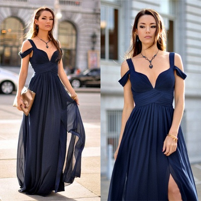 Sexy Navy Blue Chiffon Prom Dress UK Split Ruched BA2769_4