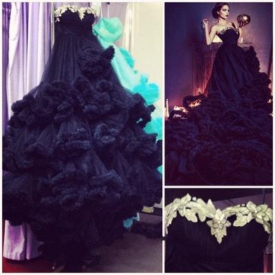 Luxury Appliques Ruffles Black Evening Dress UK Court Train Sleeveless_4