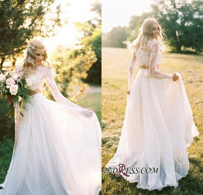 Elegant A-line Two-Piece  Long-Sleeves Lace Wedding Dresses UK_3