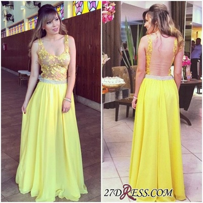 Lace Chiffon Hollow Floor-length Straps Sexy A-line Yellow Prom Dress UK_2