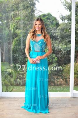 Womens Long Evening Prom Dress UKes UK Hot Sale Lindo Vestidos De Fiesta Party Gowns Blue Scoop Pearls Chiffon Lace_1