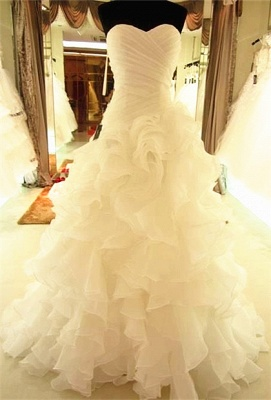Sweetheart Sleeveless Wedding Dress Lace-up With Ruffles_1