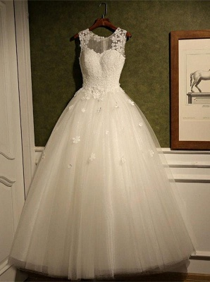 Stunning Sleeveless Scoop Neckline Wedding Dress tulle Lace Appliques_1