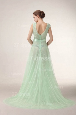 Elegant V-Neck Lace Evening Dress UKes UK Bownot A-Line Prom Gowns with Beadings_5