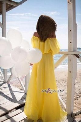 Outdoor Chiffon Off-the-shoulder Long Short-sleeves Elastic-band Sexy Beach Evening Dress UK_3