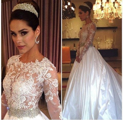 New Arrival Lace Appliques Long Sleeve Satin Wedding Dress Beadss Princess_2