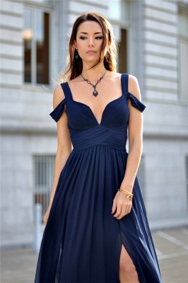Sexy Navy Blue Chiffon Prom Dress UK Split Ruched BA2769_2
