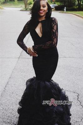 Black Lace Long-Sleeves Mermaid Elegant Keyhole-Neck Ruffles-Skirt Prom Dress UKes UK_3