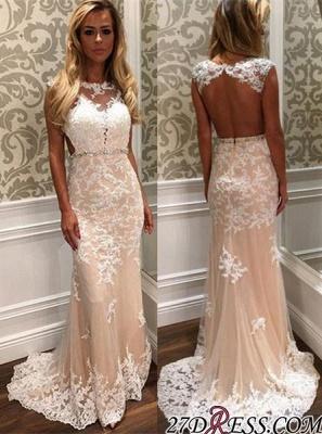 Tulle Open-Back Luxury Long Lace Crystal Prom Dress UK BA4294_2