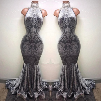 Silver-grey prom Dress UK, lace mermaid formal Dress UK BA8233_1